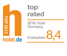 Hotel.de rating: A ranking of 8.4 out of a possible 10 during 2013.